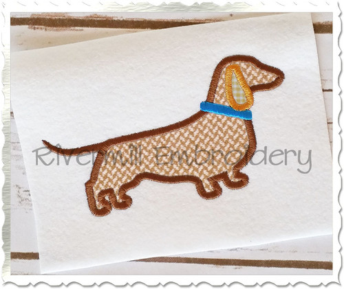 Applique Dachshund Silhouette With Collar Machine Embroidery Design