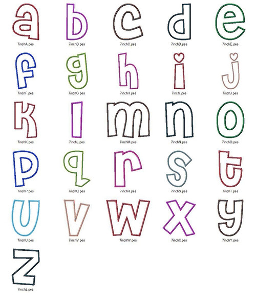 Cheri Applique (Satin w/ Bean Stitch) Machine Embroidery Alphabet