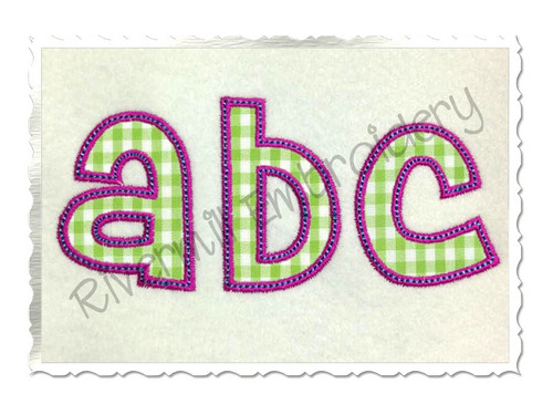 Cheri Applique (Satin w/ Bean Stitch) Machine Embroidery Alphabet