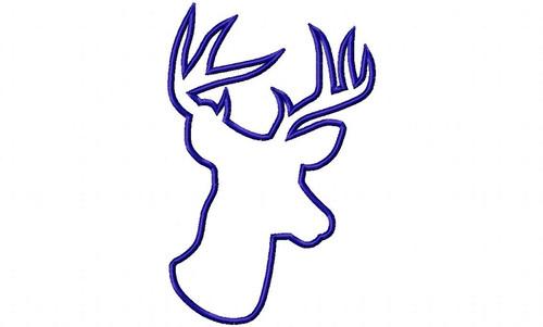 Large Applique Deer Head Buck Silhouette Machine Embroidery Design