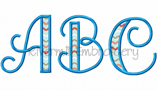 Hailey Applique Machine Embroidery Alphabet Font