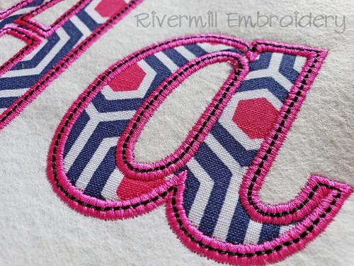 Lobster Applique Satin w/ Bean Stitch Machine Embroidery Alphabet