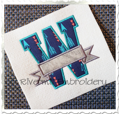 Applique Varsity Letters w/ Banner Machine Embroidery Alphabet Font