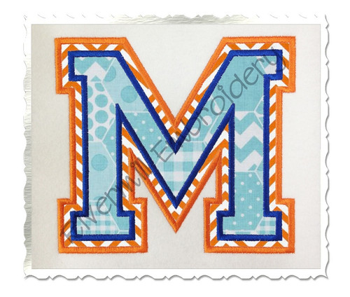 Double Applique Varsity (Style 2) Machine Embroidery Alphabet Font