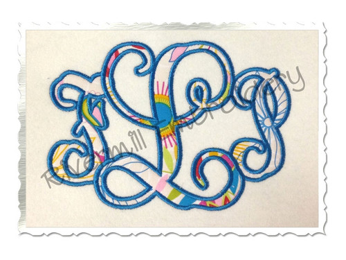 Intertwined Monogram Applique Machine Embroidery Alphabet Font