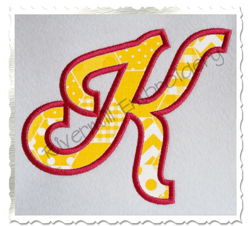 Sporty Script Applique Machine Embroidery Alphabet Font