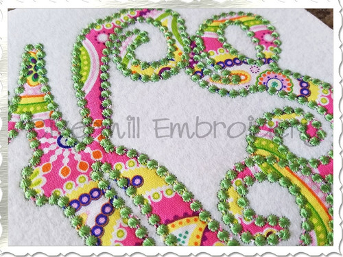 Intertwined Monogram Candlewick Applique Machine Embroidery Alphabet Font