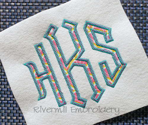 Point Monogram Applique w/ Top Stitch Machine Embroidery Alphabet Font