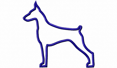 Applique Doberman Dog Silhouette Machine Embroidery Design