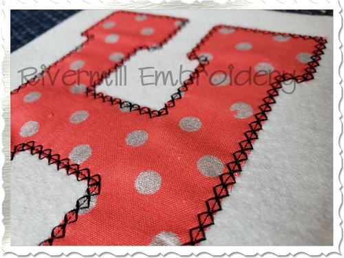 Large Varsity Diamond Applique Machine Embroidery Alphabet