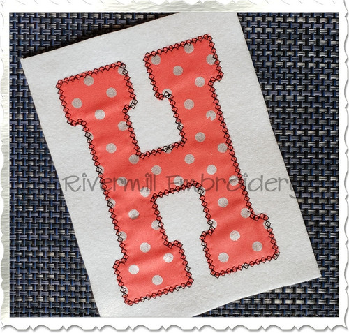 Large Varsity Diamond Applique Machine Embroidery Alphabet