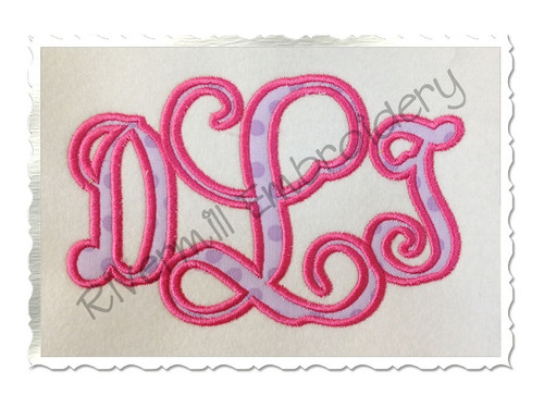 4x4 Size - Intertwined Monogram Applique Machine Embroidery Alphabet Font