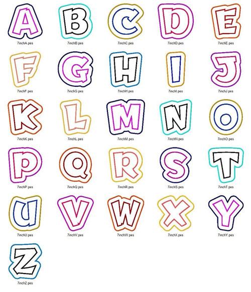 Double Applique Team Spirit Machine Embroidery Alphabet Font