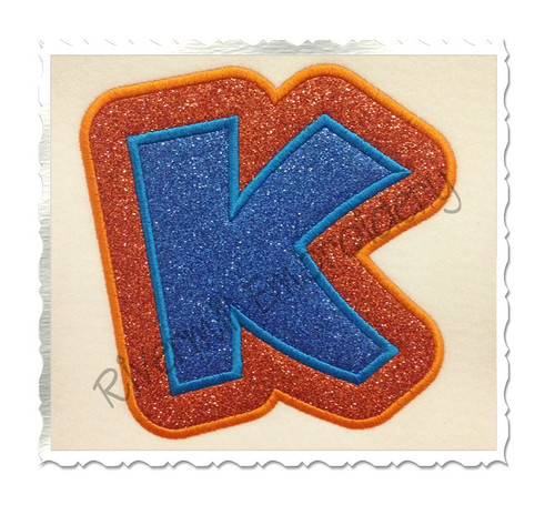 Double Applique Team Spirit Machine Embroidery Alphabet Font