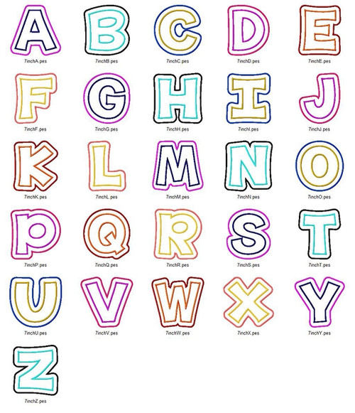 Happy Double Applique Machine Embroidery Alphabet Font