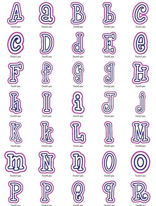 Boyz R Gross Double Applique Machine Embroidery Alphabet Font