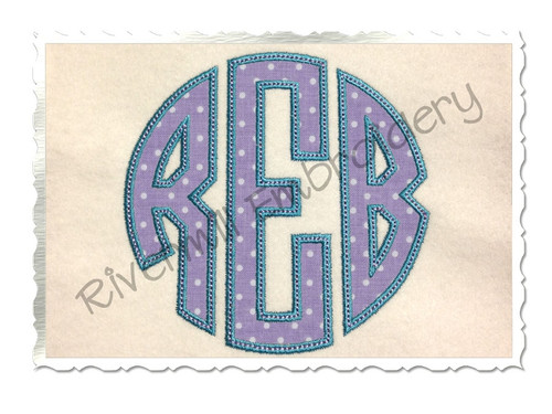 Round 3 Letter Monogram Applique (Satin w/ Bean Stitch) Machine Embroidery Alphabet Font