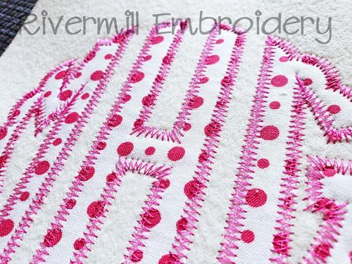 Scalloped Circle Zig Zag Applique Machine Embroidery Alphabet