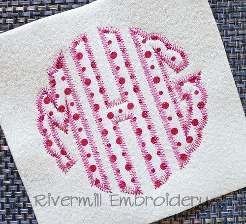 Scalloped Circle Zig Zag Applique Machine Embroidery Alphabet