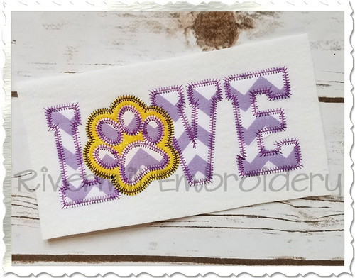 Zig Zag Applique Love with a Paw Print Machine Embroidery Design