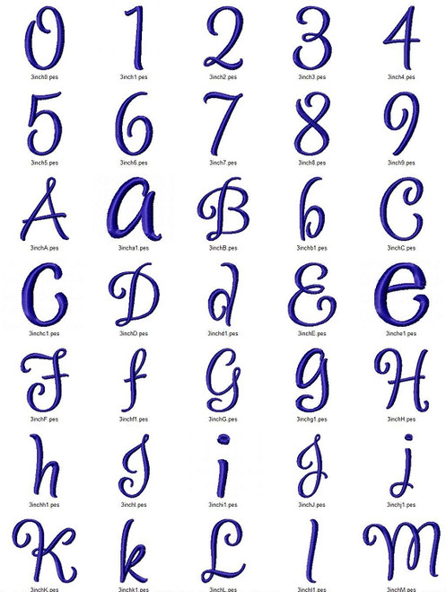 Dancer Machine Embroidery Font Alphabet