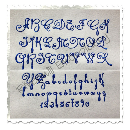 Antique Script Machine Embroidery Font Alphabet