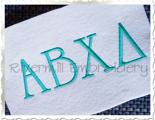 2 Sizes - Elegant Greek Machine Embroidery Font Alphabet