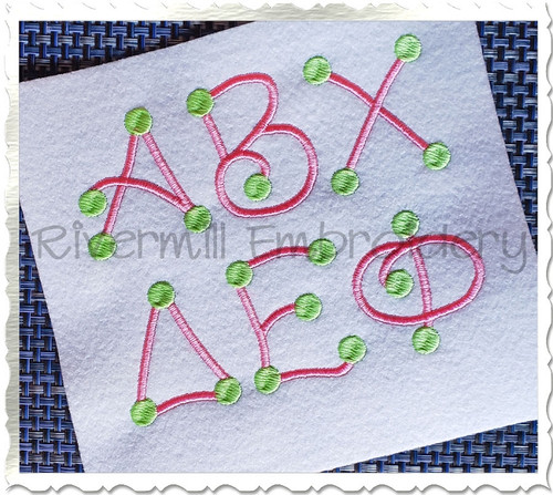Greek Dots 2 Color Machine Embroidery Font Alphabet