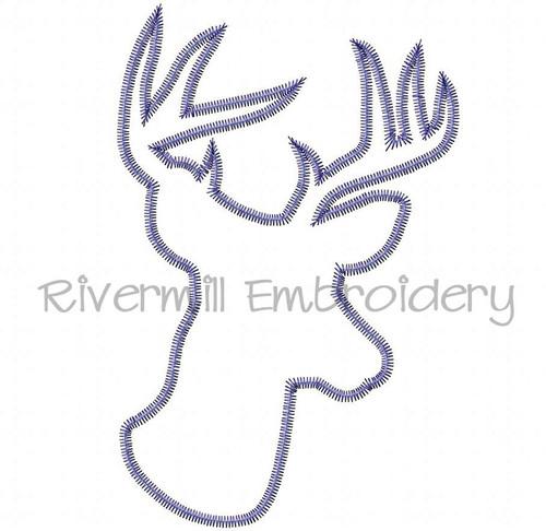 Large Zig Zag Applique Deer Head Buck Silhouette Machine Embroidery Design