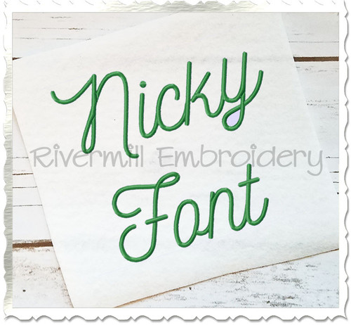 Nicky Machine Embroidery Font Alphabet