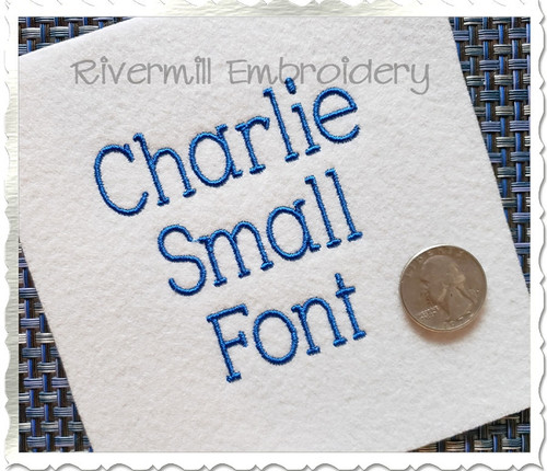 Small Charlie Machine Embroidery Font Alphabet