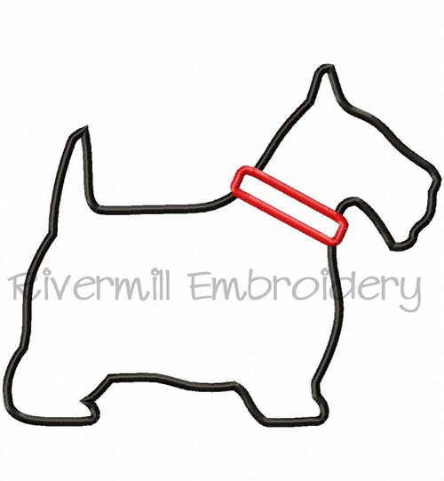 Applique Scottie Dog Silhouette With Collar Machine Embroidery Design