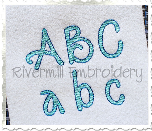 Sketch Style Jackson Machine Embroidery Font Alphabet