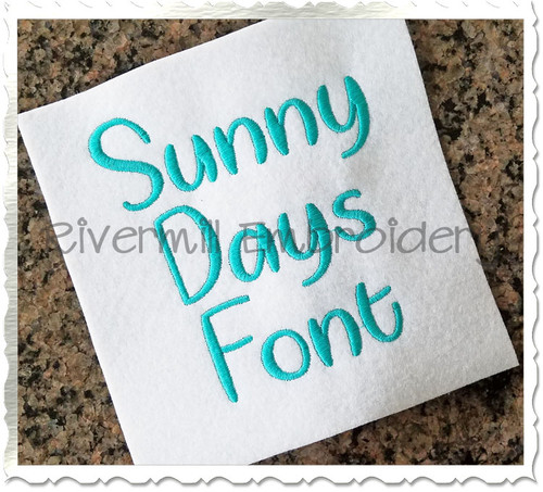 Sunny Days Machine Embroidery Font Alphabet