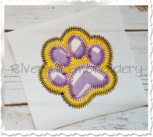 Zig Zag Double Applique Paw Print Machine Embroidery Design