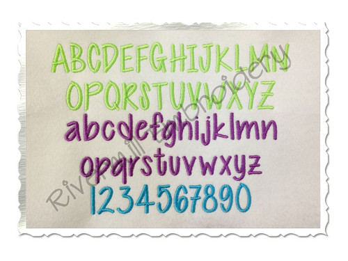 Cutesy Machine Embroidery Font Alphabet