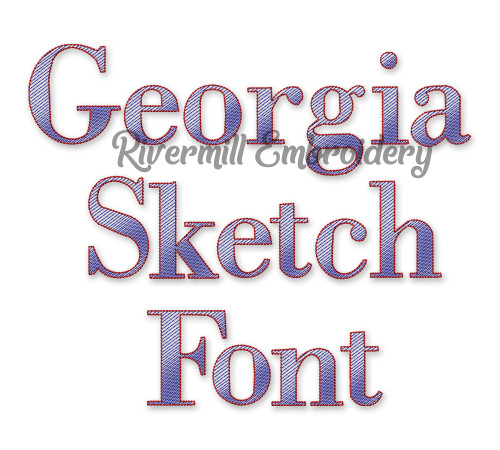 Sketch Style Georgia Machine Embroidery Font Alphabet