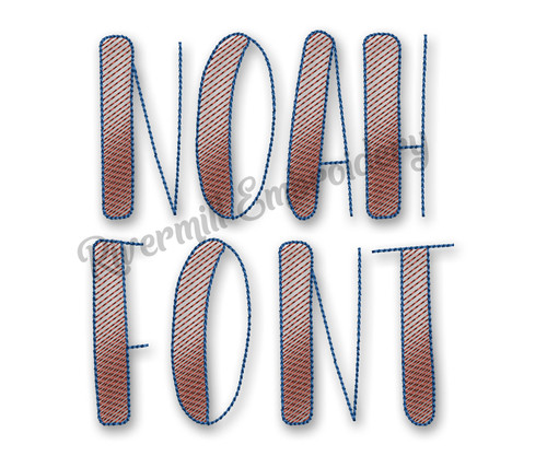 Sketch Style Noah Machine Embroidery Font Alphabet