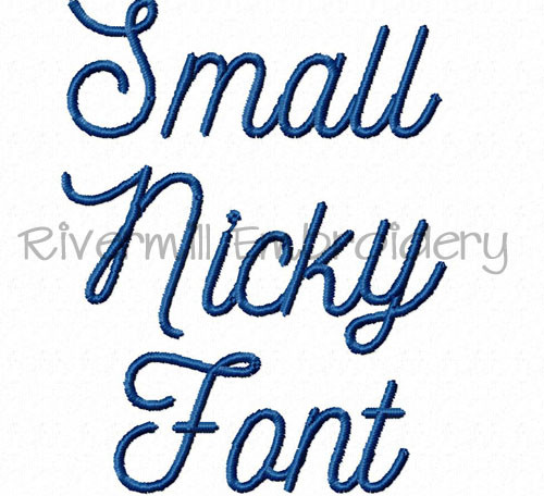 "Small 3/4"" Size Only - Nicky Machine Embroidery Font Alphabet"
