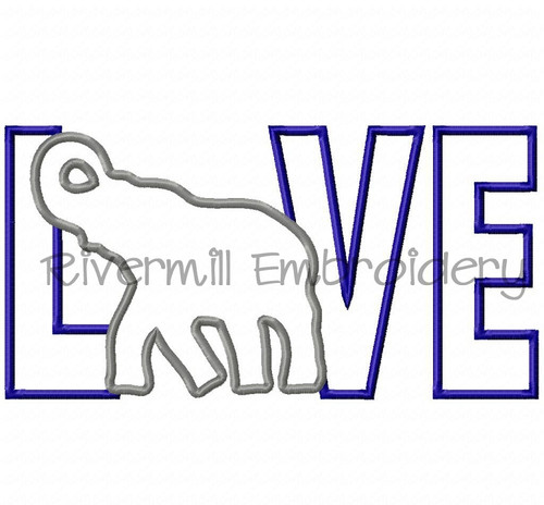 Applique Elephant Love Machine Embroidery Design