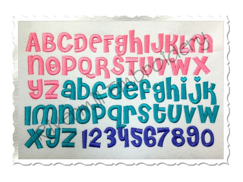 Cheri Machine Embroidery Font Alphabet