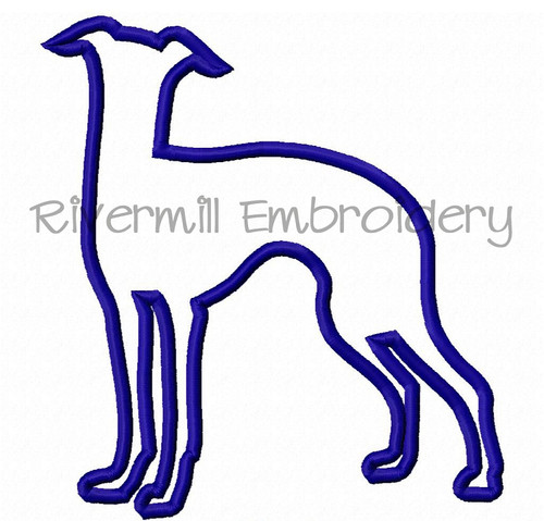 Applique Whippet Dog Silhouette Machine Embroidery Design