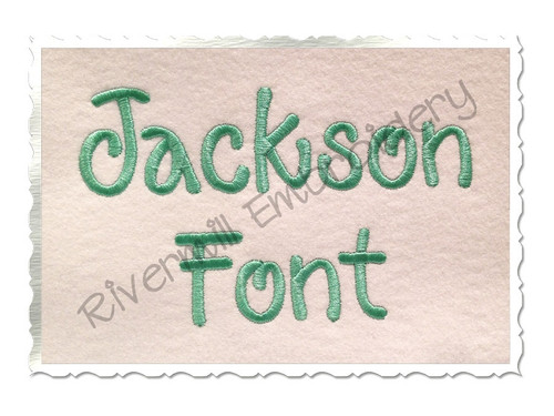 "1 1/2"" Inch Size ONLY Jackson Machine Embroidery Font"