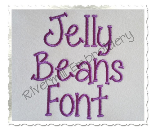 "1 1/2"" Inch Size ONLY Jelly Beans Machine Embroidery Font"
