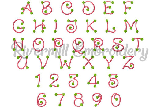 Dots 2 Color Machine Embroidery Font Alphabet