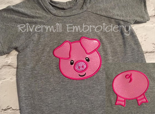 Applique Pig Front & Back Machine Embroidery Design