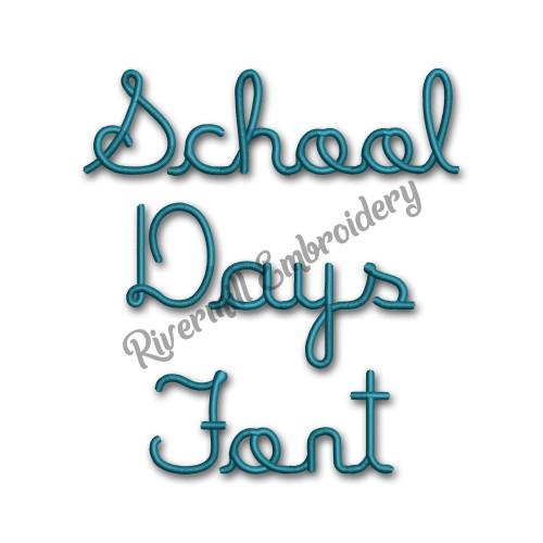 School Days Font Machine Embroidery Alphabet
