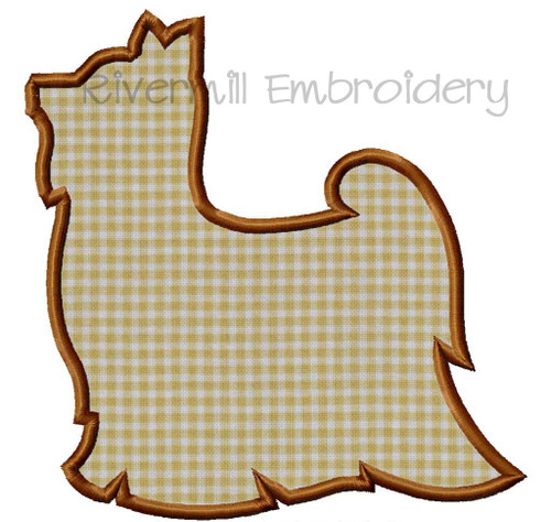 Applique Yorkie Silhouette Machine Embroidery Design