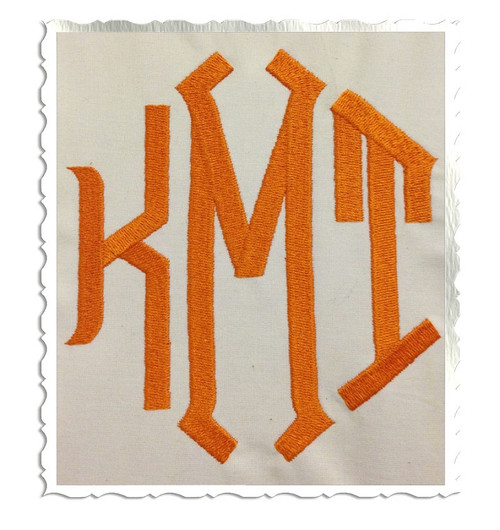 Large Point  3 Letter Monogram Machine Embroidery Font