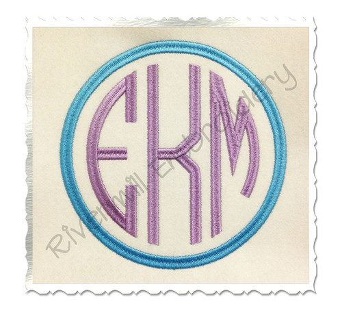 Large Thin Round 3 Letter Monogram Machine Embroidery Font